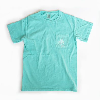 Cozy Magic Comfort Colors Unisex Pocket Crew, Aqua