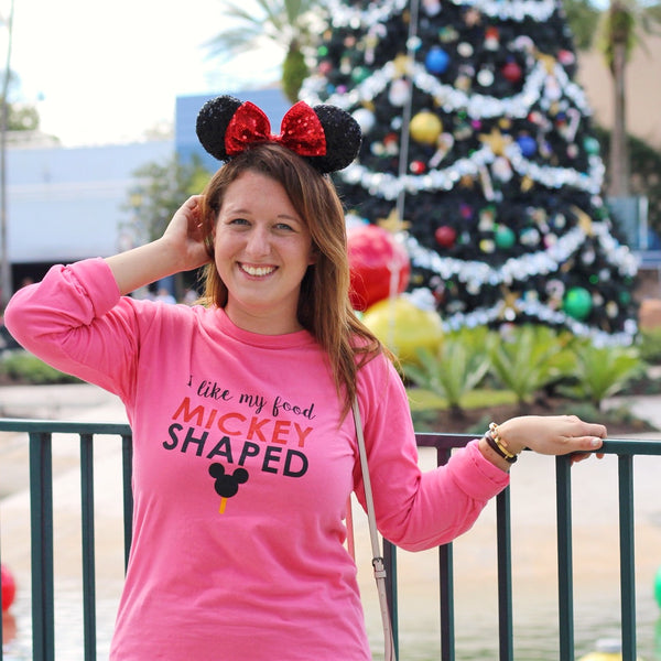 Mickey Food Pink Comfort Colors Long Sleeve