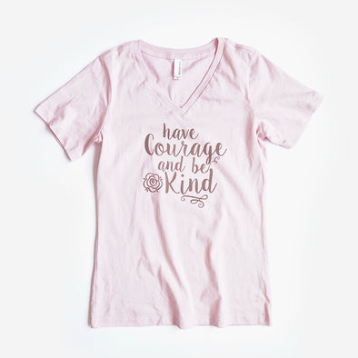 Have Courage and Be Kind Ladies Flowy V, Light Pink