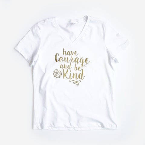 Have Courage and Be Kind Ladies Flowy V, White