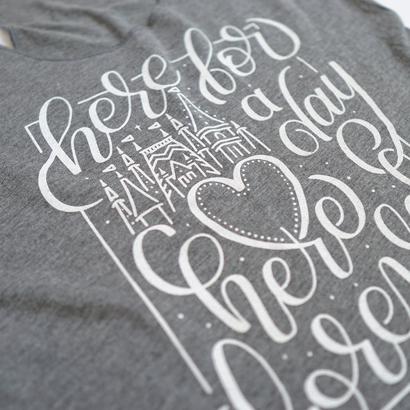 Here for a Day Ladies Classic Tank, Heather Grey