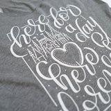 Here for a Day Ladies Flowy Tank, Heather Grey