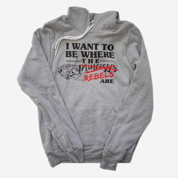 Where the Princesses Are: Rebel Unisex Hoodie, Athletic Heather