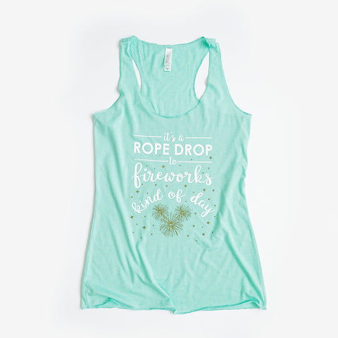 Rope Drop to Fireworks Ladies Classic Tank, Mint