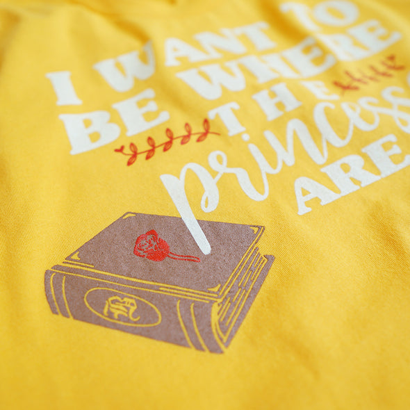 Where the Princesses Are: Bookworm Unisex Crew, Golden