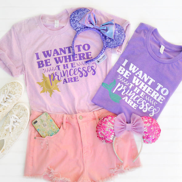 Where the Princesses Are: Mermaid Unisex Crew, Heather Purple