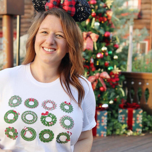 Holly Holiday Christmas Wreaths Unisex Crew, White with Red and Green