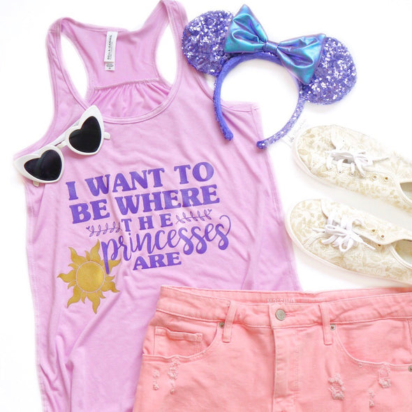 Where the Princesses Are: Dreamer Ladies Flowy Tank, Lilac