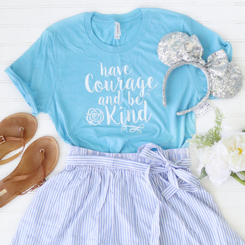Have Courage and Be Kind WHITE on Blue Unisex Crew