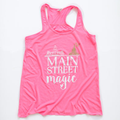 Main Street Magic Flowy Ladies Tank, Summer Pink