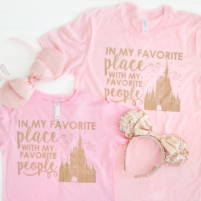 ORIGINAL Favorite Place: Florida People Youth and Toddler Tees, Rose Gold on Pink