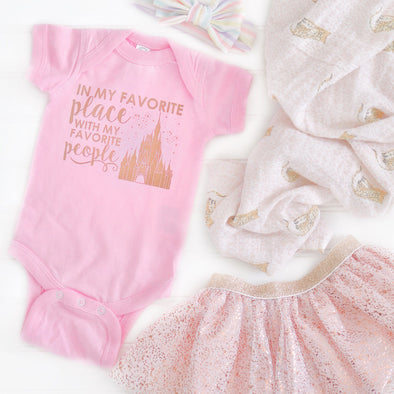 ORIGINAL Favorite Place: Florida People Onesie, Rose Gold on Pink