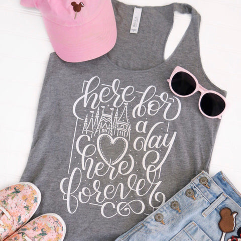 Here for a Day Grey Flowy Ladies Tank