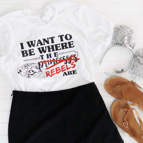 Rebel: Where the Princesses Are on White Unisex Crew