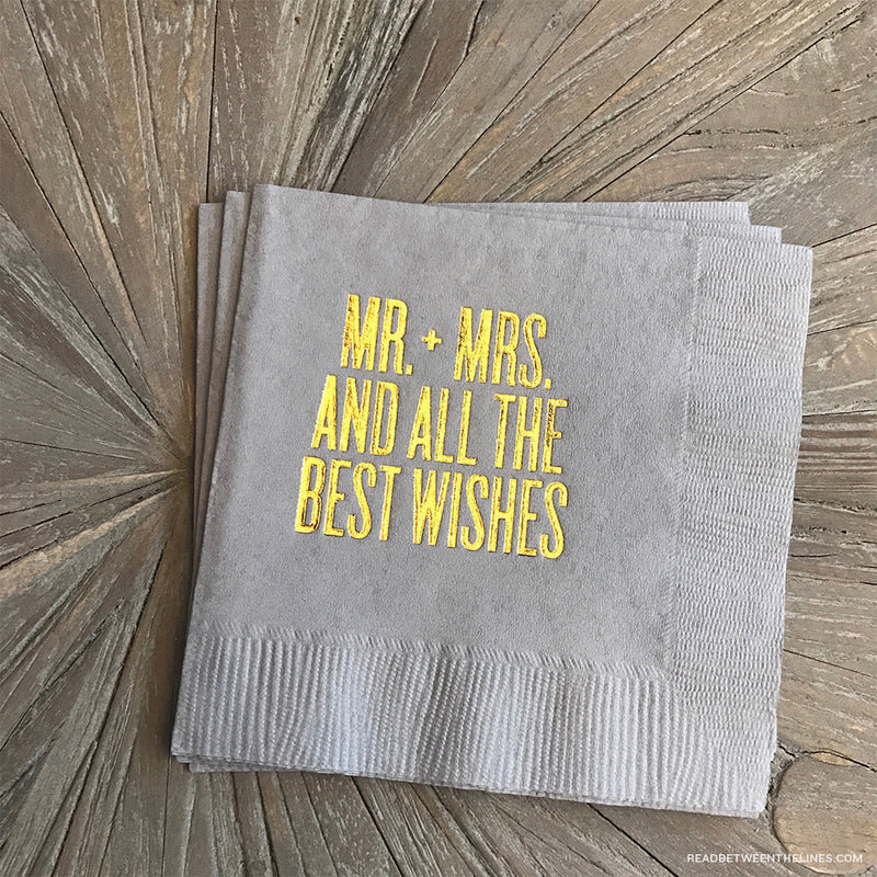 Mr. + Mrs. And All The Best Wishes Cocktail Napkins by RBTL®