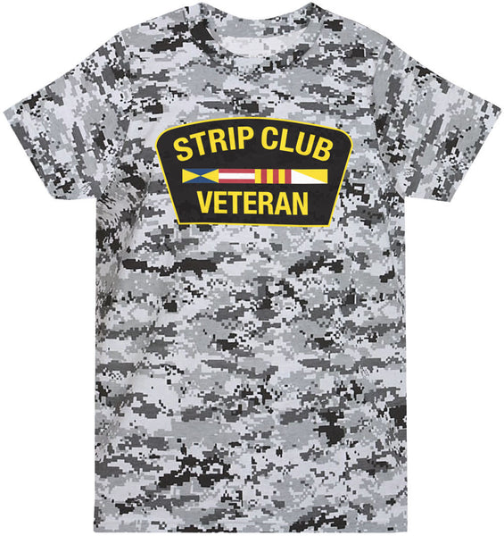 Strip Club Veteran T-shirt - Winter Digi Camo