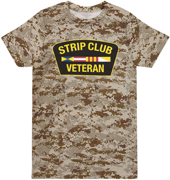 Strip Club Veteran T-shirt - Desert Digi Camo