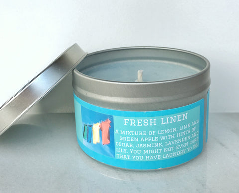 Fresh Linen Soy Candle - Round Tin