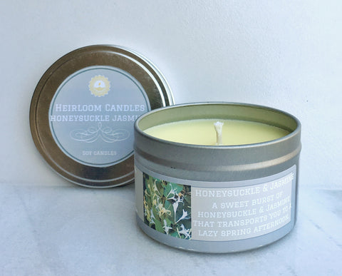 Honeysuckle Jasmine Soy Candle - Round Tin