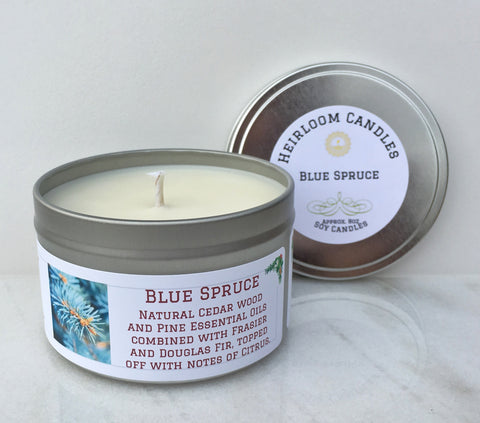 Blue Spruce Soy Candle - Round Tin