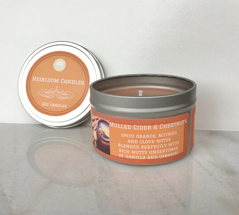 Mulled Cider & Chestnuts Soy Candle - Round Tin