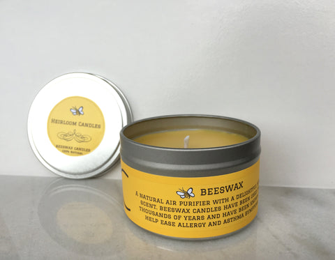 Pure Beeswax Unscented Candle - Round Tin