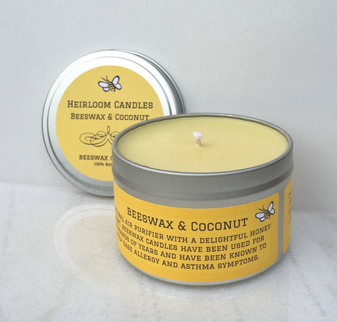 Beeswax Coconut Oil Unscented Candle - Round Tin