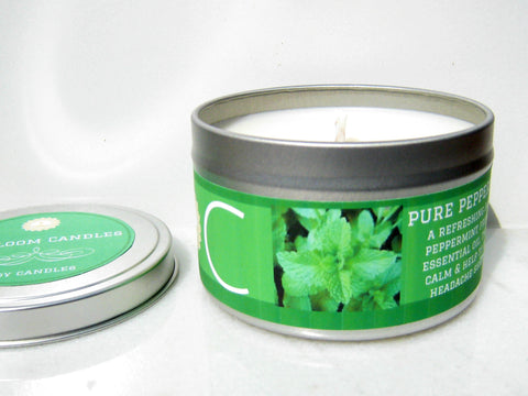 Pure Peppermint Essential Oil Soy Candle - Round Tin