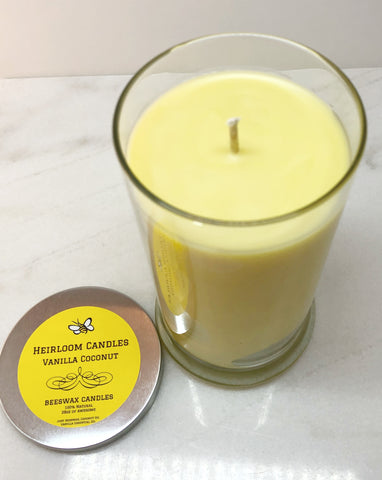 20oz Pure Beeswax Candle in Status Jar - Coconut Oil Blend