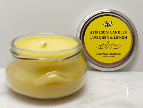 Lavender & Lemon Pure Beeswax Candle - Glass Tureen, 6-12oz