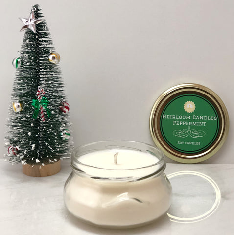 Pure Peppermint Essential Oil Soy Candle - Glass Tureen, 6-12oz