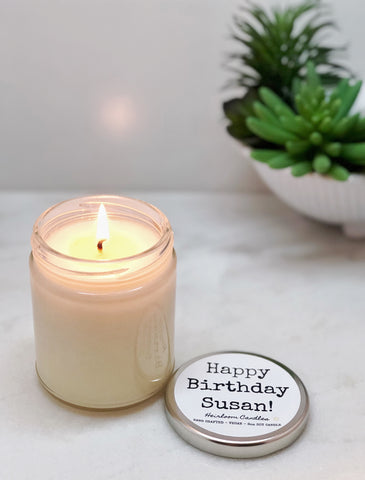 Happy Birthday Customized Candle - Beeswax or Soy