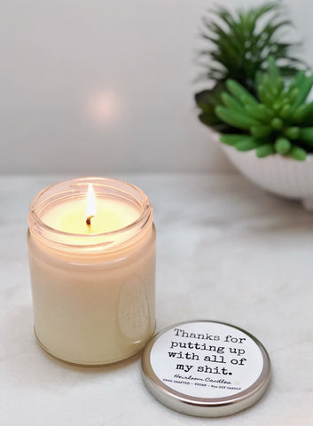 Thanks for Putting Up With All of My Shit - Personalized Message Candle