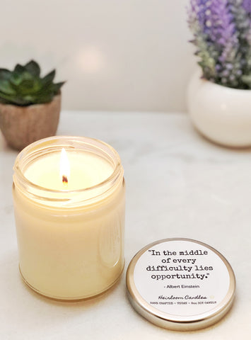 In the Middle of Every Difficulty - Inspirational Decor Gift Candle