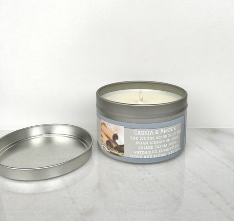 Cassia & Amber Soy Candle - Round Tin