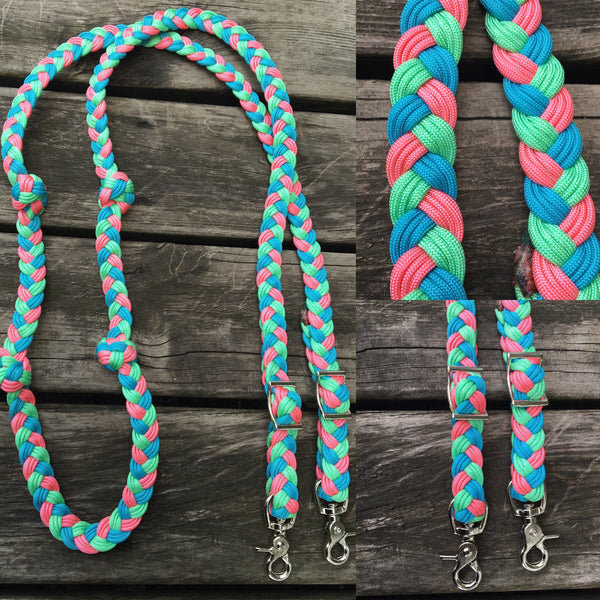 Pastel Mix 9-Strand 8ft Adjustable Premade Riding Reins w Knots