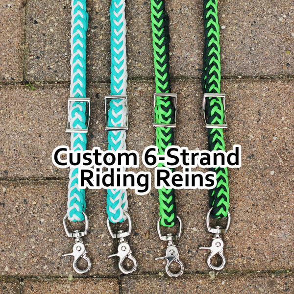 Custom 6-Strand Adjustable Braided Riding Reins
