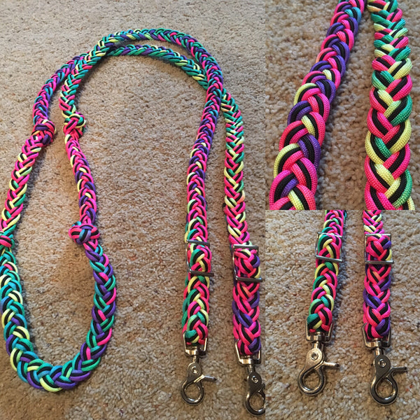 Premade Tie Dye 7ft 9-Strand Adjustable Riding Reins w Knots