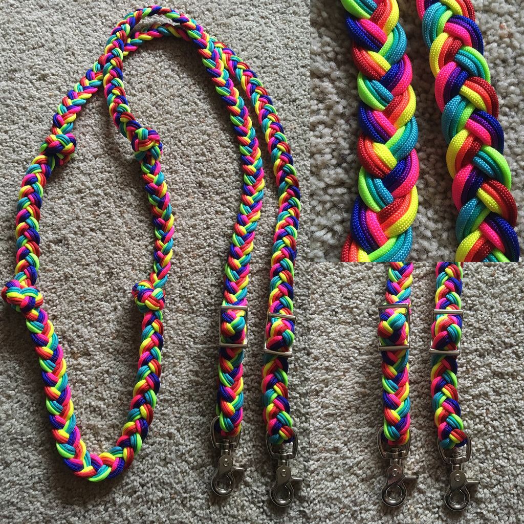 Rainbow  Pre-Designed 9-Strand 8ft Adjustable Riding Reins w Knots
