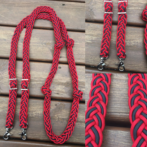 Premade Red & Black 8ft 9-Strand Adjustable Riding Reins w Knots