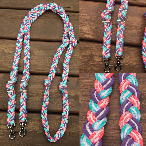 Premade Sweet Pastels 8ft 9-Strand Adjustable Riding Reins w Knots