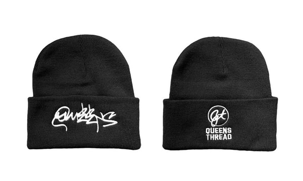 Queens Graffiti Beanie Hat - Classic Fold - Black