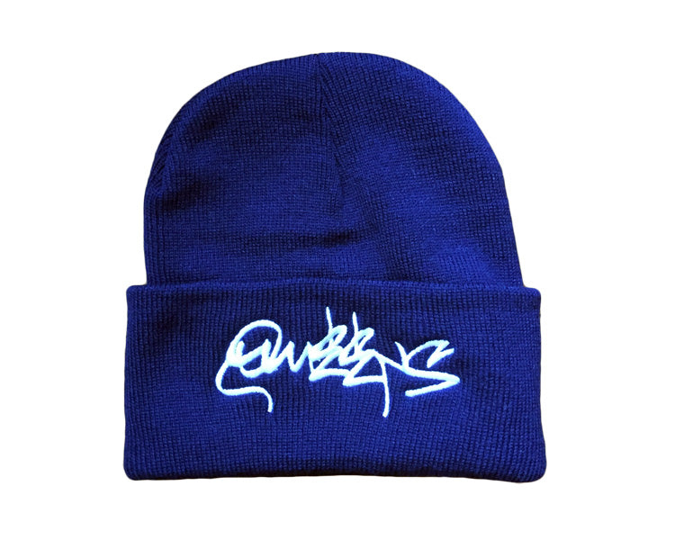 Queens Graffiti Beanie Hat - Classic Fold - Navy