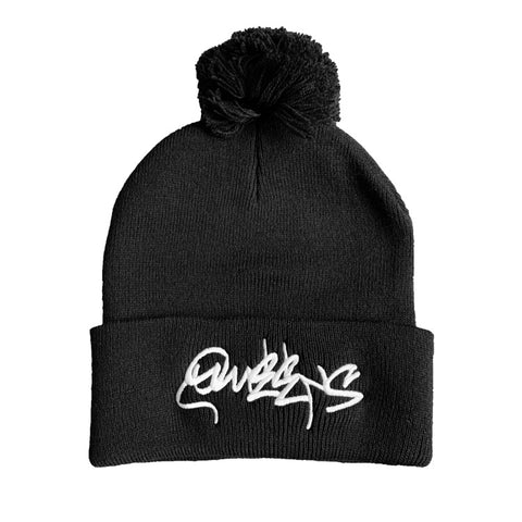 Queens Graffiti Pom Pom Beanie Hat - Black