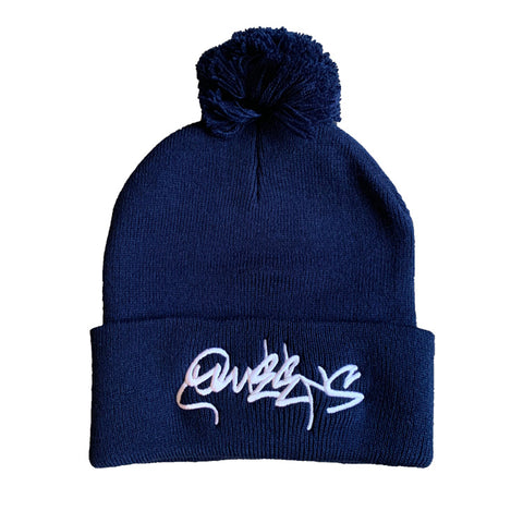 Queens Graffiti Pom Pom Beanie Hat - Navy