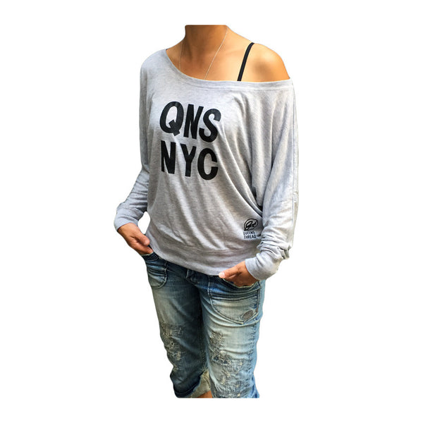 QNS NYC Women's Flowy Long Sleeve Top - Heather Grey
