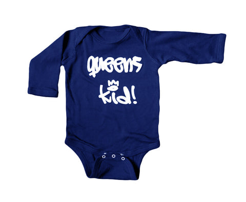 """Queens Kid!"" Long Sleeve Baby Onesie"