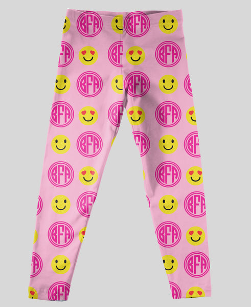 Youth Leggings - #214004 Emoji Pink