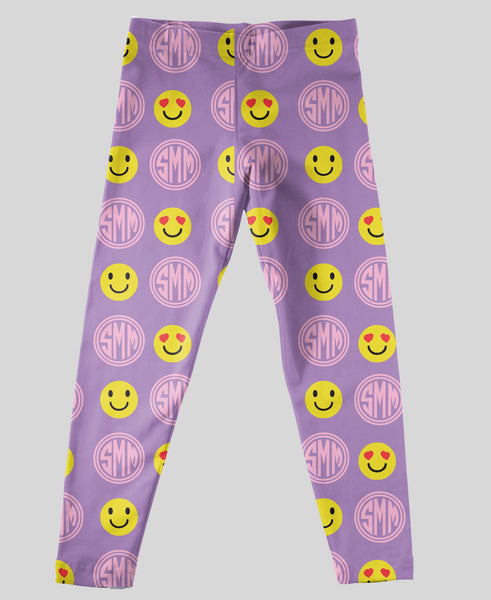 Youth Leggings - #214005 Emoji Lt Purple