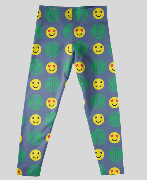 Youth Leggings - #214006 Emoji Navy